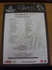 27/01/2010 Colour Teamsheet: Newcastle United v Crystal Palace  . If this item h
