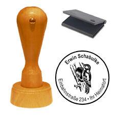 Stempel « Vogel Buntspecht » Adressenstempel Motivstempel Holzstempel