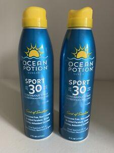 2 Ocean Potion Suncare Sport SPF 30 Continuous Spray Sunscreen Block 6 oz New