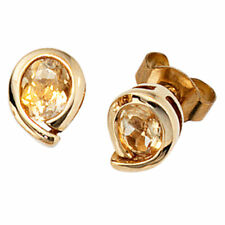 Earrings, Ear Studs With 2 Citrinen & 333 Gold,Yellow Gold,Ladies Gold Earrings