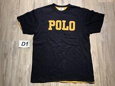 Vintage Polo Ralph Lauren Double Layer T Shirt BOX LOGO POLO Blue TEE Medium☕D1☕