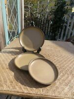 3 Vintage Stoneware Plates Two Tone Brown MCM