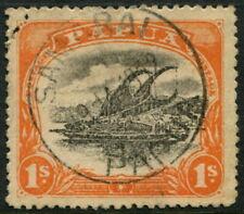 PAPUA - 1910 KGV 1/- 'BLACK & DEEP ORANGE' VFU SG81 Cv £21 [A6424]