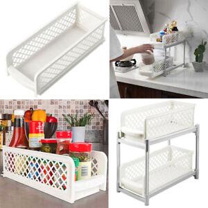 Kitchen Bathroom Storage Baskets Holder 2 Tier Under Sink Spice Rack Caddy Shelf