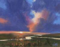 "TOM HAAS (b.1952) 'Evening Drama' oil 11""x14"" Arizona sunset Western realism"
