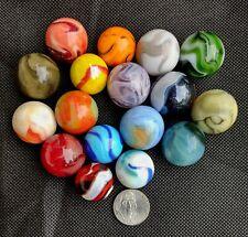 Lot of 17 Antique Vintage Bigger Larger Size Colorful Old Marbles
