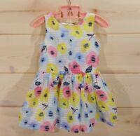 Cherokee Girls Size 2T Floral Dress Poppies in Pink Blue Yellow Sleeveless Tulle
