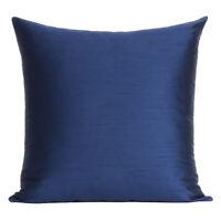 Cushion Cover Solid Sofa Throw Waist Cover Square Blue Pillow Cover Home Decor