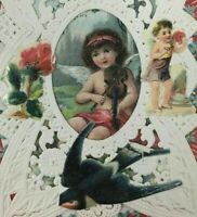 Victorian Valentine Card Paper Art Lace Angel Playing Violin Die Cut Antique