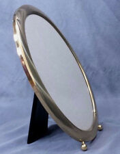 """Metal Oval Picture Frame Table Top Gold Tone Ball Feet 10"""" x 8"""" Velvet Back"""