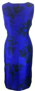 New Jacques Vert dress Cobalt Blue Black Exclusive Floral leaf shadow rrp £149
