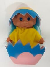 Easter Egg Troll Baby Chick Vtg 90s Collectible Toy Hatching Chicken Blue Eyes