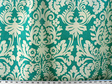 Drapery Upholstery Fabric Cotton Slub Duck Lg. Scale Traditional Damask - Teal
