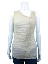 Vivienne Tam Ivory Mesh Ruffle Trim Floret Scrunched Sleeveless Knit Top Size XS