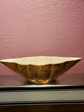 "Vintage Elegant Bowl Dish Hand Decorated Warranted 22 k Gold Candy Dish 9.5"" USA"