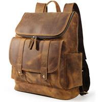 """Vintage Men Leather Hiking Backpack 15"""" Laptop Bookbag Office Travel Daypack"""