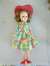 """1958 American Character Vtg 10.5"""" doll red hat pink roses blue flower Dress toni"""