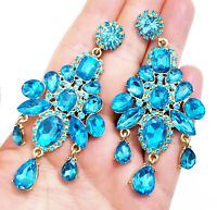 Aqua Chandelier Drop Earrings Rhinestone Crystal 3.4 inch Pageant