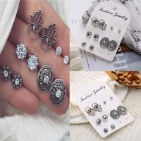 5Pair/Set Women Bohemian Crystal Zirconia Earrings Ear Studs Earrings Jewelry