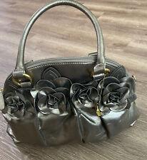 Big Buddah Large Handbag Purse in Shiny Bronze Vegan W/ 3D Flower Details EUC