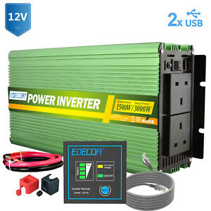Pure sine wave 1500W 3000W Power Inverter 12V to 240V UK Outlets Green EDECOA