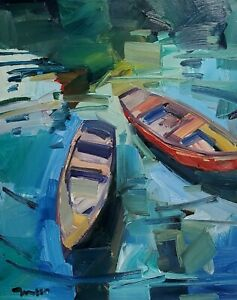 JOSE TRUJILLO Oil Painting IMPRESSIONISM BOATS LARGE 16X20 CONTEMPORARY ART