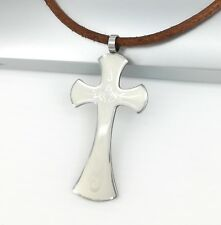 Silver Fire Templar Cross Pendant Womens Mens Brown Leather Tribal Necklace