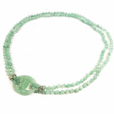 "Vintage Antique Chinese Beaded Jadeite Stone Pendant Necklace 14"" long"