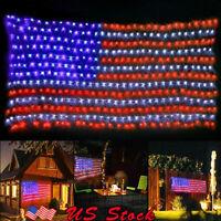 American Flag LED String Lights 8 modes Timer Function Large USA Flag Net Light