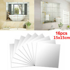 DIY Mirror Tile Wall Mirror Mirror Film Self Adhesive Sticker Foil_16PCS