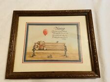 "Blessings Teddy Bear on Bench picture Vintage 1980's Home Interiors 11"" x 9"""