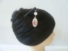 "Japanese Handcrafted Rose Pattern ""Tensha"" Acrylic Flat Bead Dangle Hair Stick"