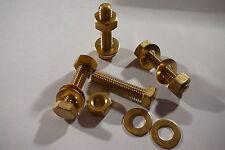 M8x35 Brass I BULLONI a Testa Esagonale Dadi & Rondelle (conf. 0f 4) Viti in Ottone Set x4