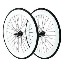 Fixie 700c Deep 70 mmFixed  Front & Rear Wheels set w Tire Tube white
