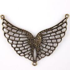 5pcs Verbinder Pendant Alloy Bronze Openwork Flügel kann Mosaik Strass 145652