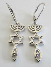 .925 Sterling Silver Messianic Christian Roots Symbol Leverback Earrings