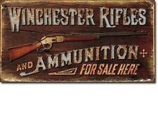 Vintage Replica Tin Metal Sign Winchester Rifle Ammo sold Pistol Revolver 1862