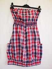 PRIMARK BANDEAU BUTTONED TEA VTG CHECK TARTAN RED PUFF PUFFBALL DRESS 6 XS