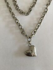 """Silver Heart Pendant On Chain Link Necklace Rhinestones 20"""""""