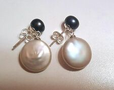 12-13mm Black and White Coin Pearl Dangle Earrings Sterling Silver Butterfly Bac
