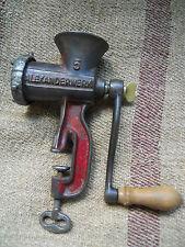 Antique German kitchen meat grinder iron cast enameled Alexanderwerk # 5 marked