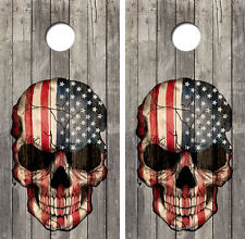 Skull Flag Vintage Wood Cornhole Board Skin Wrap Decal Set FREE SQUEEGEE