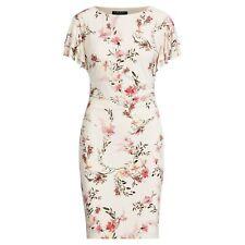 Ralph Lauren Dress Petites Sz 8P Floral Print Ruched Sleeves Jersey Light Pink