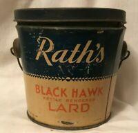 2 Pound Rath's Black Hawk Kettle Rendered Lard Can Tin Pail WATERLOO IOWA