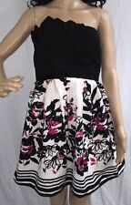 Strapless Floral Party Dress Size 9 Pink Black White Cotton Trixxi Casual Sexy