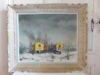 "Albert Louis (1909-?) "" Small Circus "" Oil On Panel Etterbeek 1966 Montparnas"