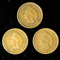 1905 1906 1907 1c Indian Head Cent Penny Set Lot , All 3 Coins , Circulated