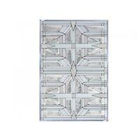 "Prairie White Art Glass Window Panel Suncatcher  Architectural Home Decor 20.5"""