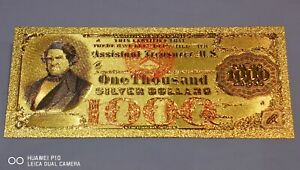 Rare Collectable Usa Gold Plated One Thousand Silver Certificate Dollar Banknote