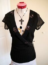 JACQUI E Black Beaded Wrap TOP Size 10 Evening Cocktail Party Cruise Sequins Bow